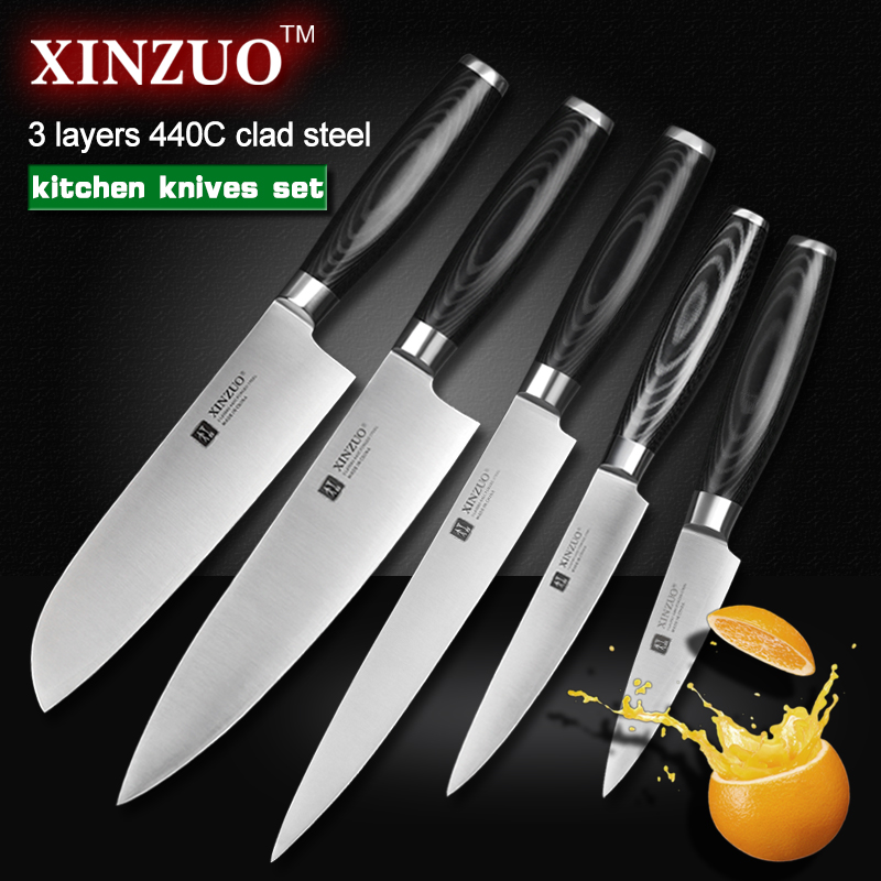 xinzuo 5 pcs kitchen knife set paring utility cleaver chef knife 3 layers 440c clad steel. Black Bedroom Furniture Sets. Home Design Ideas