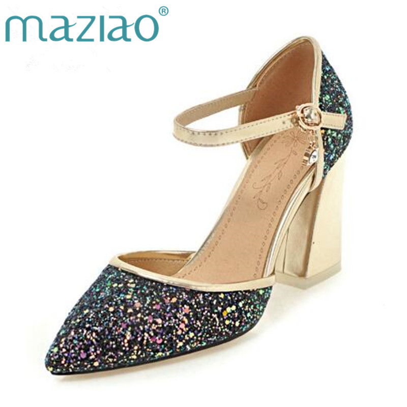 MAZIAO Women Pumps Glitter Sexy High Heels Shoes Women Pointed Party Shoes Woman Wedding Pumps Stilettos Zapato Mujer