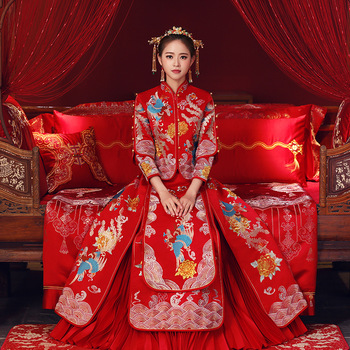S-6XL wedding cheongsam traditional Chinese bride dress Ancient marriage costume gown clothing womens embroidery phoenix Qipao