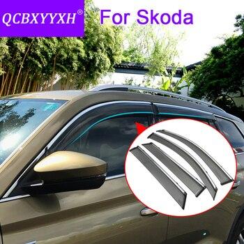 4pcs Car Styling Awnings Shelters Window Visors Sun Rain Shield Sticker Cover For Skoda Kodiaq Yeti Octavia Superb Fabia Rapid