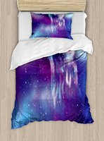 Fantasy Duvet Cover Set Psychedelic Northern Starry Sky with Spirit of A Wolf Aurora Borealis Display Decor 4 Piece Bedding Set
