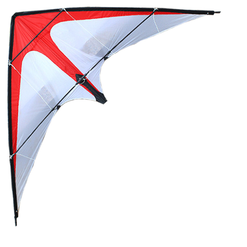 Free Shipping Outdoor Fun Sports  NEW 1.8m Dual Line Red /White  Stunt  Kite With Handle And Line Good Flying