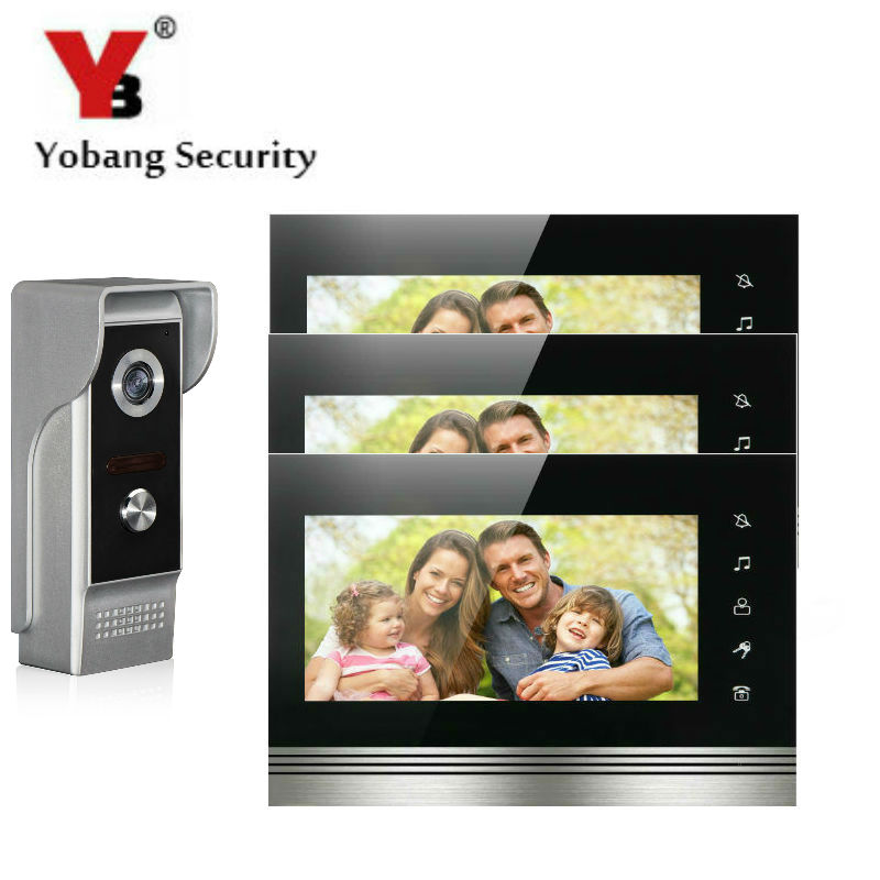 Yobang Security 7 Inch Color Touch Button Video Door Phone Doorbell Intercom Entry System Kit With Metal Case 1 Camera 3 Monitor yobang security 7 inch video door phone visual doorbell doorphone intercom kit with metal villa outdoor unit door camera monitor
