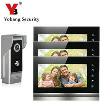 Yobang Security 7 Inch Color Touch Button Video Door Phone Doorbell Intercom Entry System Kit With Metal Case 1 Camera 3 Monitor