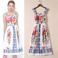 Tasarımcı pist markalı moda lady vintage çiçekli baskılı sunndress için zarif midi elbise spagetti kayışı kare yaka xl