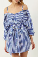 Women Ladies Striped Casual Clothing Womens Off Shoulder Stripe Suspenders Dress Ladies Casual Party Shirt Dresses