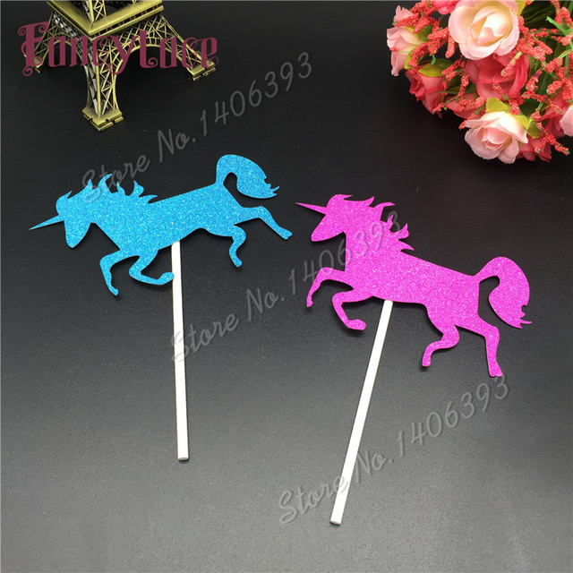 12pcs Free Shipping Glitter Paper Unicorn Horse Design Wedding Birthday Party Cakes Toppers Christ Baby Shower