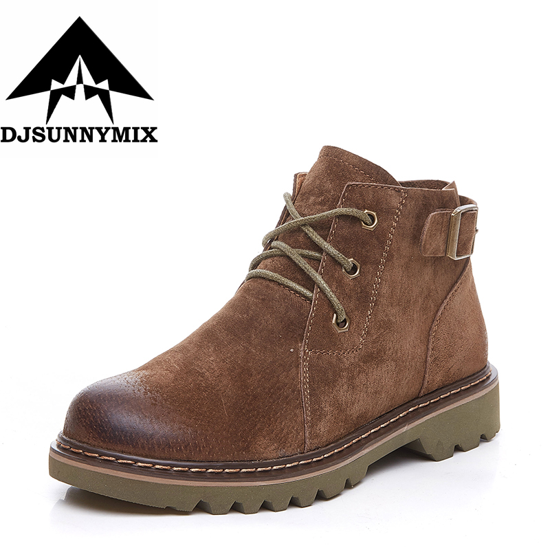 DJSUNNYMIX Brand Autumn Winter Genuine Leather cow Suede Ankle Boots High Quality brown  Fashion Women's shoes New Short Boots sougen boots men brand autumn genuine leather ankle fur winter black cowboys military shoes sheepskin snows suede fashion
