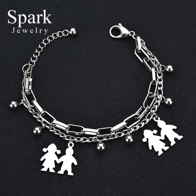 Spark Stainless Steel Mama Family Charm Bracelet With Boy And Charms Mother S Day Gift Pulseras