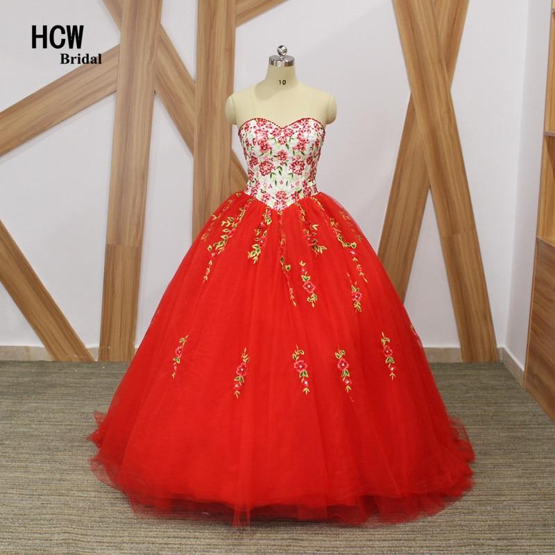 2018 Красное бальное платье Quinceanera Dress Изящные цветы для вышивки Puffy Tulle Sweet 16 Quinceanera Party Платья на заказ