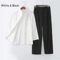 Chinese Traditional Tang Suit Wu Shu Suits Tai Chi Clothing Kung Fu Uniform Long Sleeves Shirt + Pants Morning Exercise Wearing