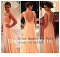 2017 All Free Shipping !High quality nude back chiffon lace long peach color bridesmaid dress backless custom made