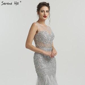 Image 5 - Grey Luxury Diamond Sequined High end Evening Dresses 2020 Elegant Mermaid Sleeveless Sexy Evening Gowns Serene Hill LA6587