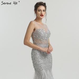 Image 5 - Gri lüks elmas payetli High end abiye 2020 zarif Mermaid kolsuz seksi abiye giyim Serene tepe LA6587