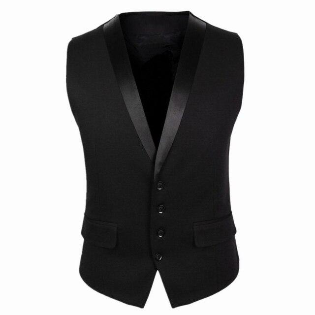 2016 Nuevas Llegadas Chalecos de Vestir Para Hombres Negro Gris Delgado ajuste Para Hombre Sin Mangas del Chaleco de Cuello V Chaleco Masculino Formal de La Boda CH752