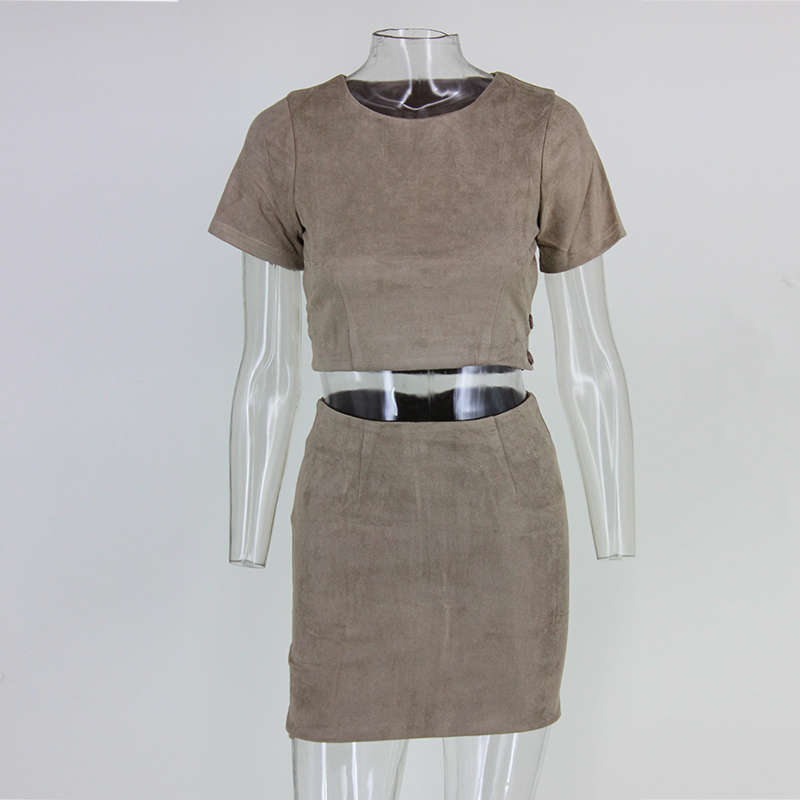 Vintage Suede Short Sleeve O-neck Open Back 2 Pieces Dress