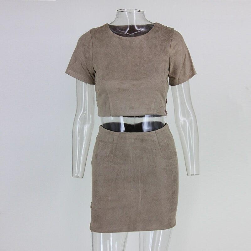 Vintage Suede Short Sleeve O-neck Open Back 2 Pieces Dress