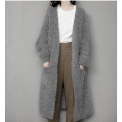Натуральный норковый кашемировый свитер, женский кардиган из чистого кашемира, вязаная норковая куртка, зимнее длинное меховое пальто, бес...