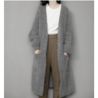 Genuine Mink Cashmere Sweater Women Pure Cashmere Cardigan Knitted Mink Jacketn Winter Long Fur Coat Free