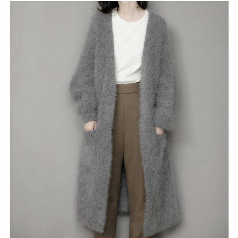 genuine mink cashmere sweater women pure cashmere cardigan knitted mink jacketn winter long fur coat free