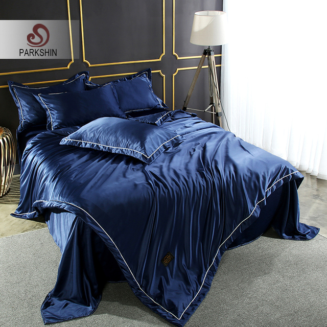 4ee9a5772d3 Best Price ParkShin Luxury Bedding Set Blue 100% Silk Soft Comforter Duvet  Cover Bedspread Double Silky Bed Sheet Queen King Bed Linen Set