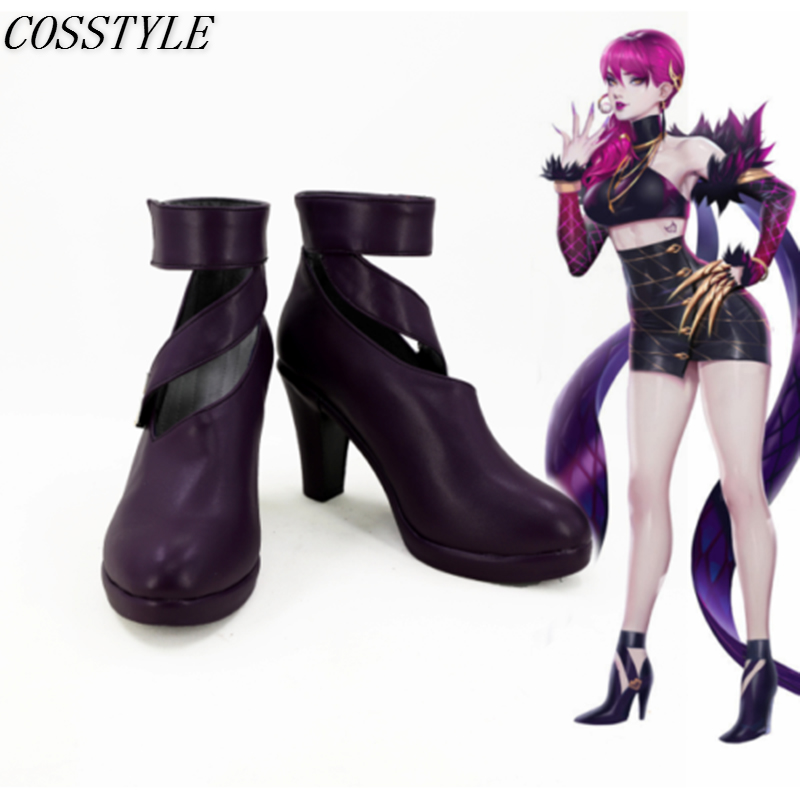 KDA Evelynn Cosplay Shoes LOL Evelynn Cosplay High-Heeled Shoes Game LOL K/DA Evelynn Cosplay Boots Purple Color Custom Made