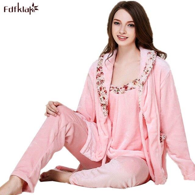 Fdfklak High quality 2018 New Flannel Pajamas Women Long Sleeve 3 Pieces Pyjamas  Womens Sleepwear Set Thick Warm Pijamas Sets 9149aaf38
