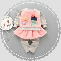 New Style Cute Baby Girls Clothes Sets Winter Thick Warm Long Sleeve Top Skirts Pant 2PCS