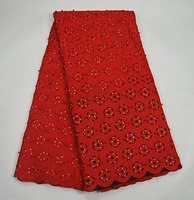 (10 colors)AD67red free shipping (5yards/pc) hot selling African cotton lace fabric handcut Swiss lace fabric for party dress