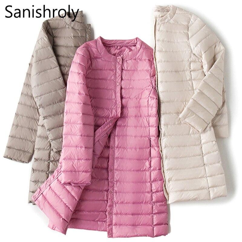 Sanishroly L-4XL Autumn Winter Women Long Coat Ultra Light Down Coat Parka Female White Duck Down Jacket Outerwear Plus Size 264