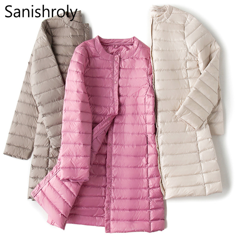 Sanishroly L-4XL Autumn Winter Women Long   Coat   Ultra Light   Down     Coat   Parka Female White Duck   Down   Jacket Outerwear Plus Size 264