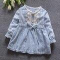 2017 primavera verão novo carrinho de bebê girls dress-manga longa baby girl princess dress kid partido roupas sólida dress