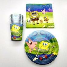 60PCS/lot Boys Favors Cups Decorate Spongebob Cartoon Theme Tableware Set Happy Birthday Party Plates Baby Shower Paper Napkins