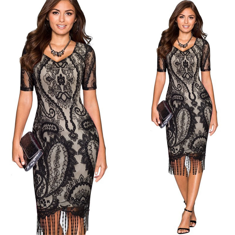 Women's Elegant V-Neck Lace Tunic Tassel Wear To Work Business Office Casual Party Bodycon Stretch Pencil One Piece Dress Suit