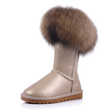 2016 new soft nap fashion fox fur waterproof snow boots women's knee high boots flat winter boots platform fur shoes size 35-45