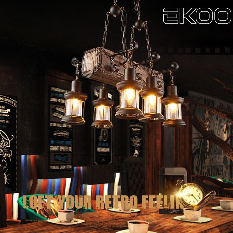 EKOO 6 Cabeças de Madeira Lustre Lâmpada de Ferro Rústico Industrial Luz E27 para restaurante bar Sala de estar e mais