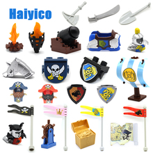 Big Building Blocks Castle Pirate Arms Armor War cannon Model Accessories Bricks Compatible with Duplo Set Figure Toy child Gift 7pcs tbbt figure set sheldon leonard the big bang theory bernadette rajesh howard amy penny building blocks set model bricks toy