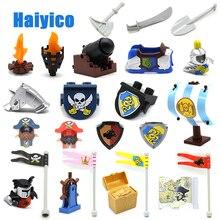 Grandes Blocos De Construção Do Castelo Pirata Braços Armadura Acessórios Modelo de canhão Guerra Tijolos Compatível com Duplo Set Figura Brinquedo Presente da criança