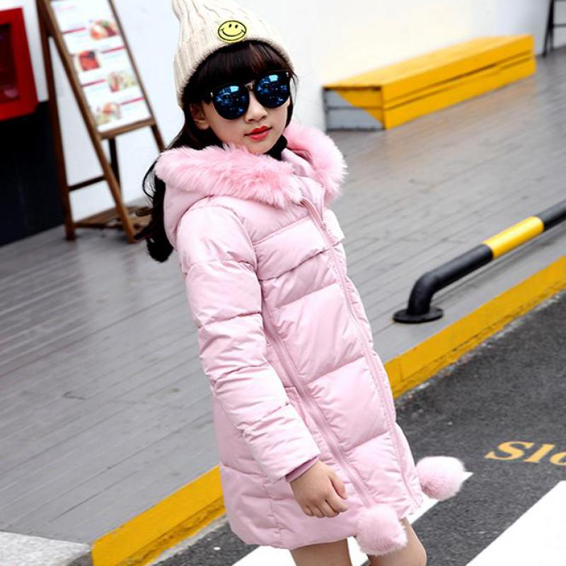 2017 New Children Parkas Girls Winter Cotton-padded Coats Kids Solid Long Outwear Teenage Girls Warm Fur Hooded Clothes 12 13 14 children thicken warm winter coat kids cotton padded jacket wadded outwear thickening boys girls fur hooded parkas clothes y105
