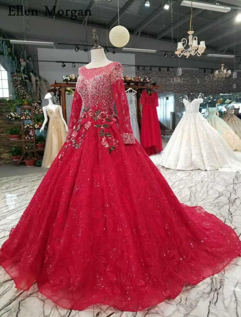 ecef720f85 Light Burgundy Ball Gowns Wedding Dresses 2019 Saudi Arabian Dubai Lace up  Beaded Vintage Long Sleeves Muslim Bridal Gowns