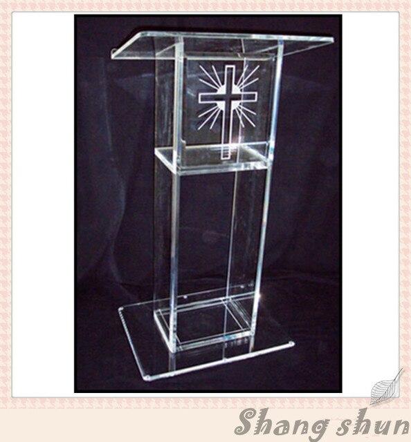 Cheap Transparent Acrylic Podium Pulpit Lectern, Clear Plexiglass Podium, Organic Glass Church Pulpit