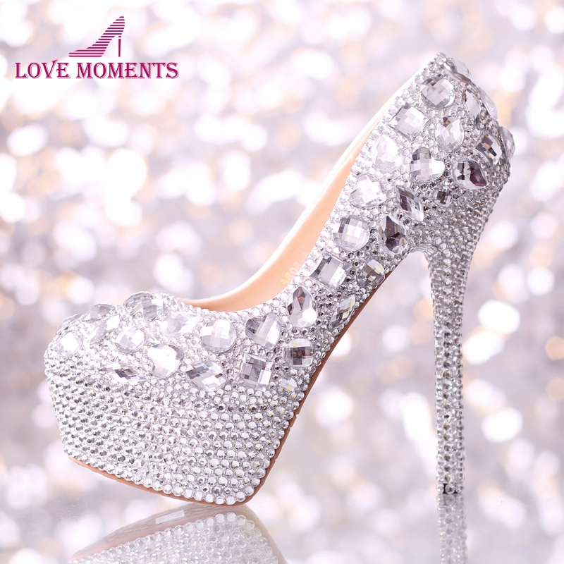 Wedding shoes women high heels crystal Fashion Bridal Dress shoes woman platforms silver rhinestone Party Prom pumps free shipping sparkly silver crystal and rhinestone high heels with spikes ultra high heels shoes for wedding party prom