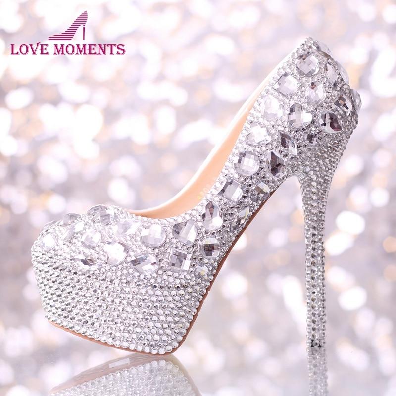 Wedding shoes women high heels crystal Fashion Bridal Dress shoes woman platforms silver rhinestone Party Prom pumps