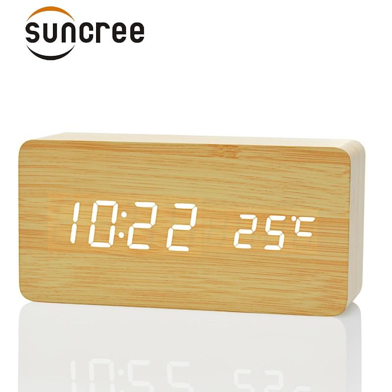 FiBiSonic holz digital LED wecker temperatur + datum + zeit klingt steuer Elektronische Schreibtisch Tischuhr