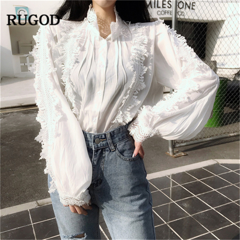 16d8e6b0cf00b7 RUGOD 2019 New Spring White Blouse Women Vintage Lace Patchwork Puff Sleeve  Shirt Casual Women Tops