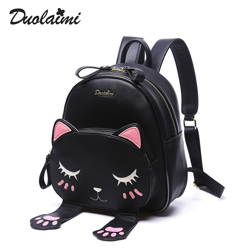 DUOLAIMI Cat Backpack Black Preppy Style School Backpacks 2018 Funny Quality Pu Leather Fashion Women Shoulder Bag Back Pack Sac