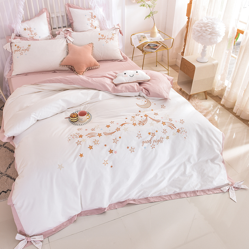 White Pink Luxury Princess Style Stars Moon Embroidery Girl Bedding Set Bowknot Duvet Cover Bed Sheet Bed Linen Pillowcases