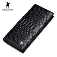 WILLIAMPOLO 2018 для мужчин кошелек пояса из натуральной кожи змеиной двойного сложения бумажники монет карты Держатель наличные карман