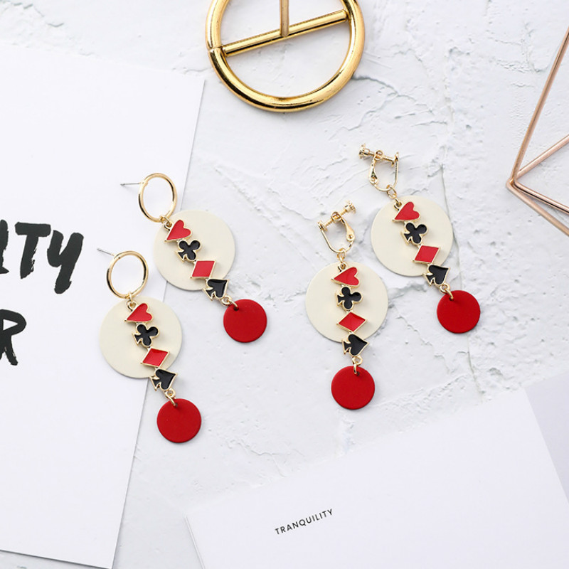 Supply Shifeel New Fashion Korea Playing Cards Graphics Peach Apricot Plum Square Element Earrings Ear Clip Earless Hole Long Pendients Earrings