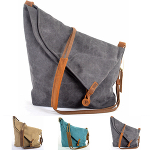Korean Retro New Vintage Men's military canvas +leather Shoulder Bag Men's Messenger Bag Men Crossbody Bag male Sling Bag